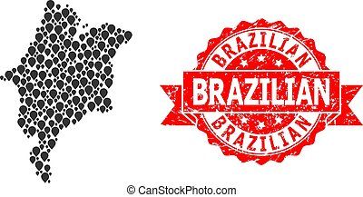 Distress Brazilian Stamp Seal and Mark Mosaic Map of ...