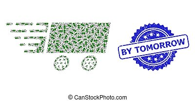 Distress By Tomorrow Stamp and Recursive Dollar Banknote Wagon Icon Collage