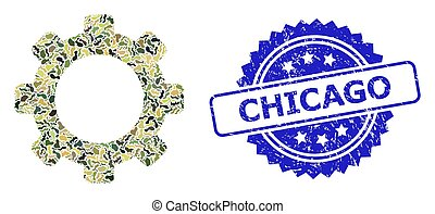 Distress Chicago Seal and Military Camouflage Collage of Gear