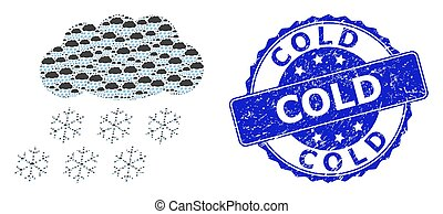 Distress Cold Round Stamp and Fractal Snow Cloud Icon ...