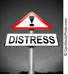Illustration depicting a sign with a distress concept.