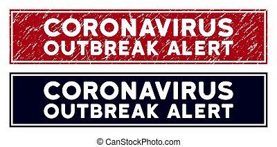 Distress Coronavirus Outbreak Alert Rectangle Stamp