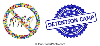 Colored collage forbidden slavery, and Detention Camp corroded rosette seal imitation. Blue stamp seal has Detention Camp title inside rosette.