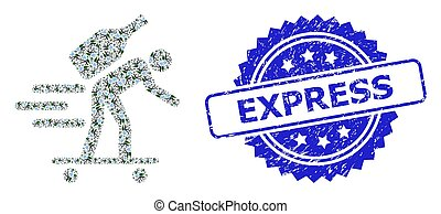 Distress Express Stamp and Fractal Express Wine Courier Icon Collage