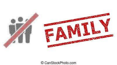 Distress Family Seal and Halftone Dotted Stop People