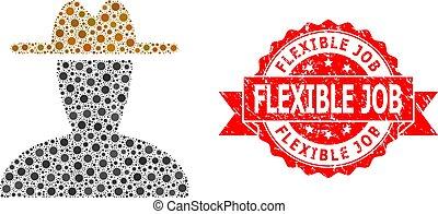 Vector collage peasant persona of flu virus, and Flexible Job textured ribbon stamp seal. Virus items inside peasant persona collage. Red stamp contains Flexible Job title inside ribbon.