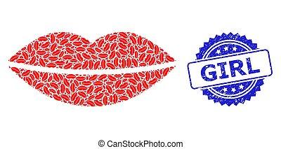 Distress Girl Seal and Recursive Smile Lips Icon Mosaic