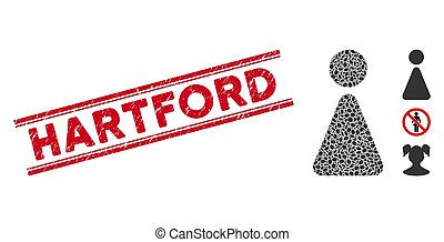 Distress Hartford Line Seal and Collage Woman Icon