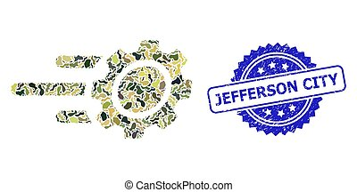 Distress Jefferson City Seal and Military Camouflage Composition of Rush Gear