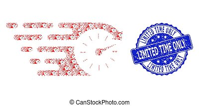 Distress Limited Time Only Round Watermark and Recursion Time Icon Composition