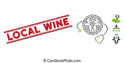 Distress Local Wine Line Seal with Mosaic Cow Veterinary Icon