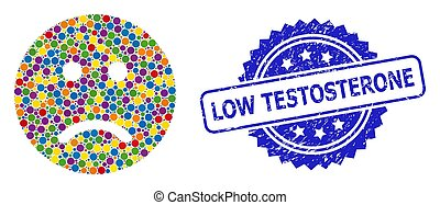 Distress Low Testosterone Seal and Multicolored Collage Sad ...