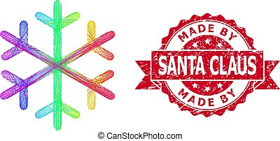 Distress Made by Santa Claus Seal and Rainbow Hatched Snowflake