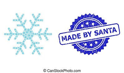 Distress Made by Santa Seal Stamp and Recursive Snowflake Icon Mosaic