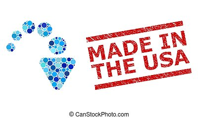 Distress Made in the USA Stamp Imitation and Redo Collage of Round Dots