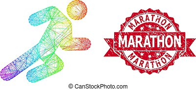 Distress Marathon Stamp and Multicolored Linear Running Man