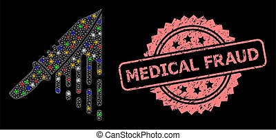 Distress Medical Fraud Stamp and Mesh Blood Knife with Light...