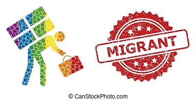 Refugee person collage icon of circle spots in various sizes and LGBT colored color hues, and Migrant unclean rosette stamp seal. A dotted LGBT-colored Refugee person for lesbians, gays, transgenders,
