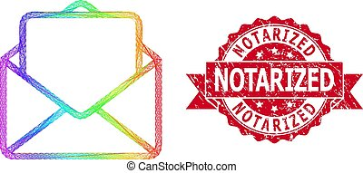 Distress Notarized Stamp and LGBT Colored Network Open ...
