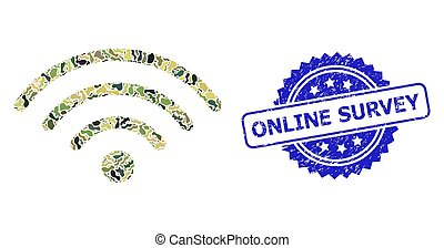 Distress Online Survey Stamp and Military Camouflage Composition of Wi-Fi Source