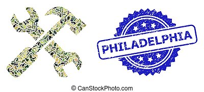 Distress Philadelphia Seal and Military Camouflage Composition of Repair Tools