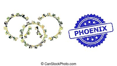 Distress Phoenix Stamp and Military Camouflage Composition of Gears
