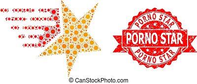 Distress Porno Star Seal and Covid-2019 Mosaic Star - Vector...