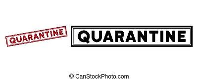 Distress Quarantine Rectangle Frame Stamp Seal