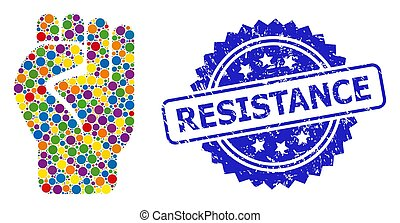 Distress Resistance Seal and Multicolored Collage Clenched Fist