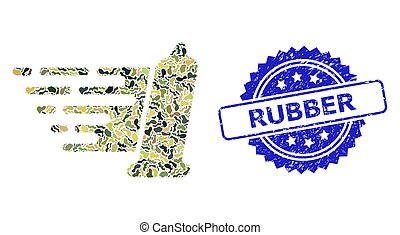 Distress Rubber Stamp and Military Camouflage Composition of Condom
