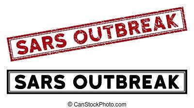 Distress Sars Outbreak Rectangle Frame Stamp