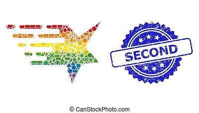 Distress Second Stamp Seal and Multicolored Geometric Star ...