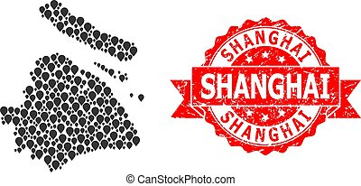 Distress Shanghai Stamp Seal and Marker Mosaic Map of ...