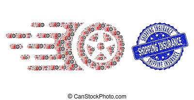 Distress Shipping Insurance Round Watermark and Recursion Tire Wheel Icon Mosaic