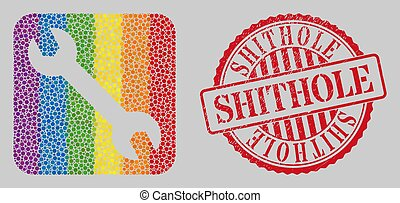 Distress Shithole Stamp Seal and Mosaic Spanner Subtracted for LGBT