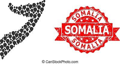 Distress Somalia Stamp and Marker Mosaic Map of Somalia - ...