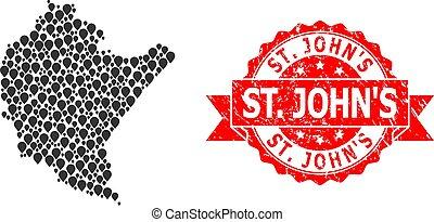 Distress St. John'S Stamp Seal and Mark Mosaic Map of ...