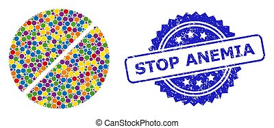 Distress Stop Anemia Stamp and Colorful Mosaic Medication ...