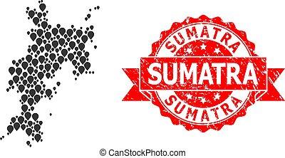Distress Sumatra Stamp and Mark Mosaic Map of Komodo Island...