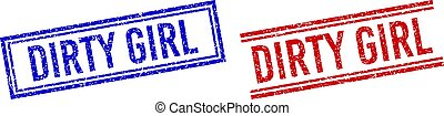 Distress Textured DIRTY GIRL Seal with Double Lines