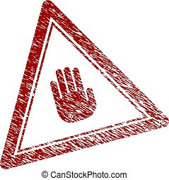 Distress Textured Stop Hand Triangle Stamp Seal