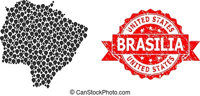 Distress United States Brasilia Stamp and Mark Mosaic Map of...