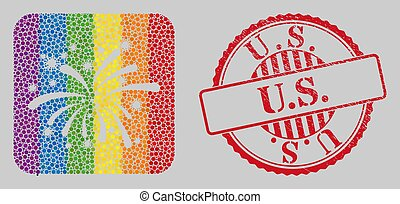 Distress U.S. Stamp Seal and Mosaic Viral Fireworks Stencil for LGBT
