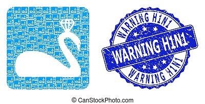 Distress Warning H1N1 Round Seal Stamp and Recursive Crowned Swan Icon Collage