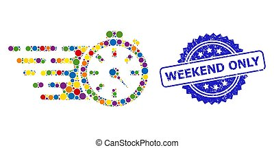 Distress Weekend Only Stamp Seal and Colorful Collage Timer