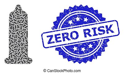 Distress Zero Risk Stamp and Recursive Condom Icon Collage
