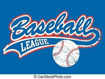 Distressed baseball script with a baseball .