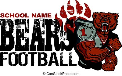 distressed bears football team design for school, college or league