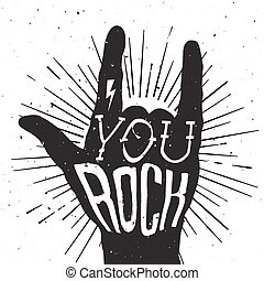 Distressed black and white poster with rock hand sign with ...