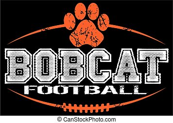 distressed bobcat football team design with paw print and laces for school, college or league